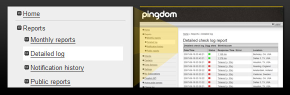 Detailed log in the Pingdom control panel