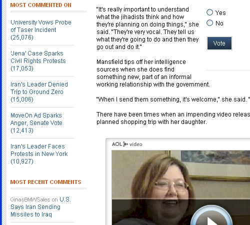 AOL News Beta Most Commented Detail Screenshot - 09/20/07