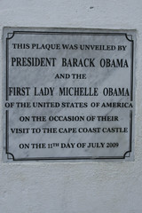 They love Obama in Africa (6) (Karin.Lakeman) Tags: africa castle plaque michelle ghana obama capecoast barackobama barack obamania