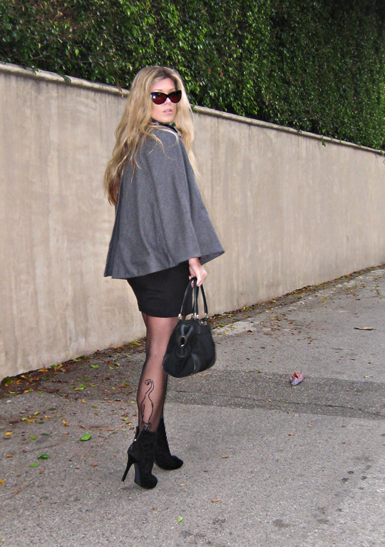 cape+little black dress+cat eye sunglasses+cat stockings+vintage gucci bag+pf