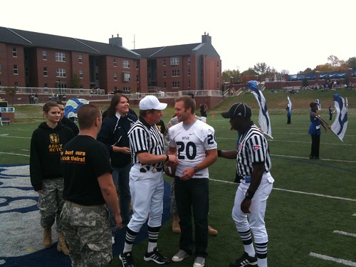 @edcarpenter20 w/ the coin toss for @butleru Homecoming.
