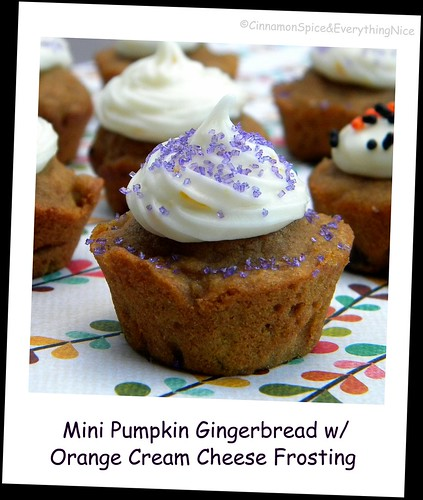 Pumpkin Gingerbread Muffins w/ Orange Cream Cheese Frosting