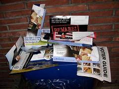 My bin runneth over... with bullshit (Plaid Ninja) Tags: ads paper propaganda lies political politics bin advertisement crap recycling advertisements bullshit misleading bullcrap horseapples halftruths mistruths whoresapples