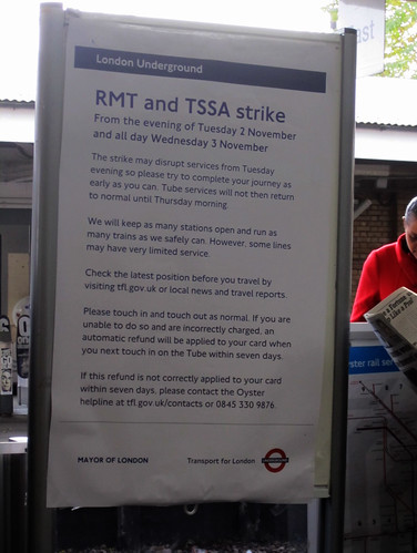 RMT & TSSA Tube Strike Notice - Kew Gardens Station