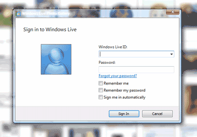 Photo Gallery Windows Live ID sign in