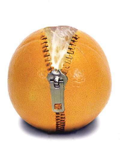 naranja con cremallera