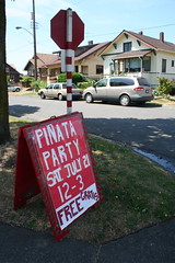 This sign advertised the 2007 Piñata Party in Stevens Place Park. Sadly, there wont be a party this year. Photo by Laura Hadden.