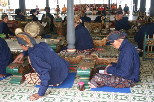 Gamelan musicians at the royal palace, Yogyakarta.