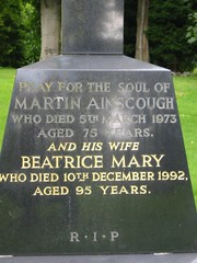 Martin Ainscoughb.1898-d.5th march 1973 age 75 and wife Beatrice Mary b.1897 – d.10th December 1992 age 95