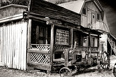 Red Barn Restaurant, Demopolis, Alabama (...Ashish...) Tags: bw tractor barn photoshop canon rebel blackwhite raw cs2 alabama johndeere deepsouth virtualphotographer smorgasbord lucisart blueribbonwinner photomatix alabamathebeautiful demopolis xti goldenphotographer theothervillage superhearts redbarnrestaurant