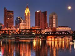 DSC04704_5_6-HDR.jpg (matthewkaz) Tags: city railroad bridge columbus ohio river downtown huntington hdr sciotoriver supremecourt 2007 levequetower rhodestower onecolumbus riffetower