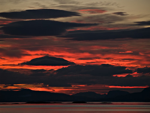 Photo of incredible red sunset in northern Norway