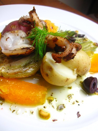 Baby Octopus a la Plancha with potatoes, roasted fennel, orange supremes, olives and pistachios