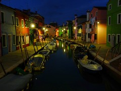 Colors in the dark (lrene) Tags: venice houses italy colors night boats lights evening canal europe italia barche case unesco luci soir venezia colori notte burano canale worldheritage sera notturno