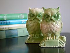Pair Owls Green Bisque Vintage