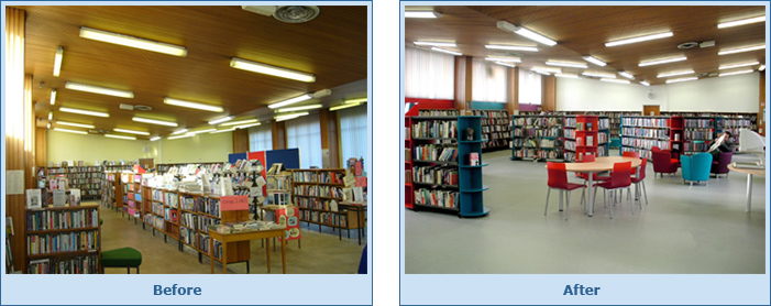 Dolphin's Barn Library...before and after