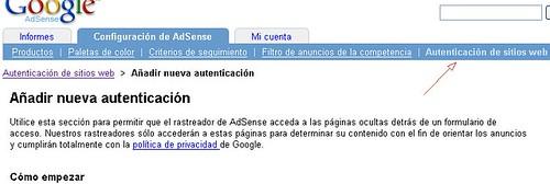 autentificacion de sitios web adsense