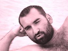 breathe... (PhotoBySvet) Tags: bear man beach sepia beard