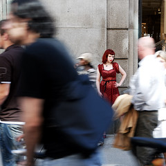 Time and motion (Rune T) Tags: street red portrait people urban blur oslo contrast walking still movement dress crowd redhead busy lydia 18200 karljohan timing pinkham