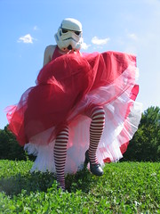 redandjonny: Red Dress (RedandJonny) Tags: red ontario canada field stormtrooper caledonia crinoline stripesocks redandjonny stormtroopersinlove stormtroopergirl