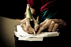 memory (knowsnotmuch) Tags: old family grandma pen writing paper hands 66 toned wrinkles medicines t1 pp explored 55200vr