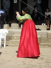 woman wearing hanbok