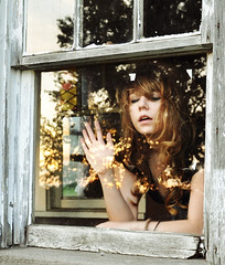 (yyellowbird) Tags: ohio sun house reflection abandoned window glass girl gold glare cari