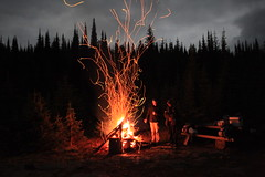 Overnight campfire at the trailhead for Twin Lakes in the Monashee Mountain Range, near Cherryville, BC (Ryan Van Veen Photography) Tags: snow water landscape scenery lakes route views twinlakes monasheemountains mountseveride bclandscape markbergertraverse neopolitanpeak