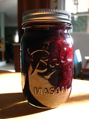 making blueberry jam