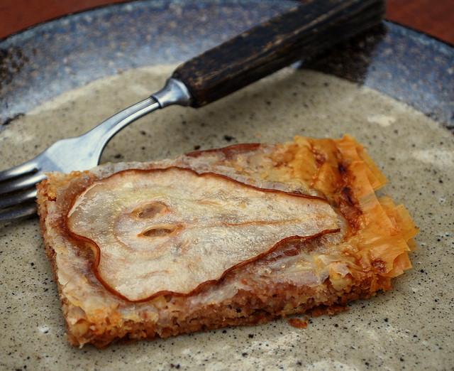 Pear Phyllo Crisp slice