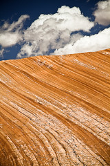 Striped Sandstone (Cristiano Secci) Tags: blue sky orange usa rock stone clouds landscape utah sand scenery dune erosion canyonlandsnationalpark photovotr