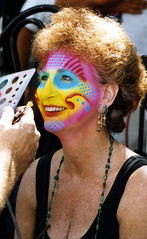 1997 Key West Face Painting (anoldent) Tags: portrait woman west beauty facepainting key colorful fantasy fest flickrdiamond