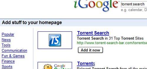 Add torrent search bar