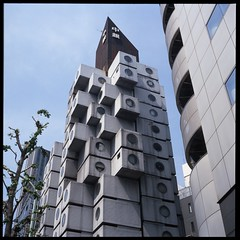 Boxed (gullevek) Tags: sky plants building tree 6x6 film window japan architecture skyscraper geotagged concrete iso100 tokyo ginza fuji    housebuilding sampo kurokawa fujivelvia50    scannedfromnegative iso50 nakagincapsuletower kisyo rolleiflex28c  epsongtx900 geo:lat=35665386 geo:lon=139763426
