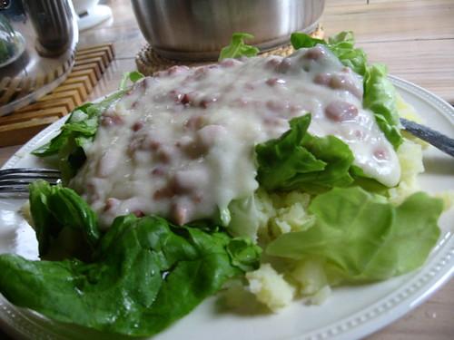 Buttermilk Sauce on lettuce and potatoes - a Dutch staple eaten in Vlissingen, The Netherlands