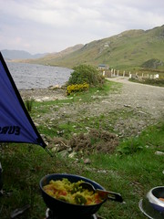 Camping in Ireland (sunbearbilly) Tags: blue camping trees ireland light summer lake mountains colour galway nature clouds 2006 connemara kylemore countygalway campingie