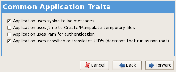 SELinux policy wizard GUI