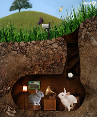 Two little friends (OneEyedCube) Tags: bunny bunnies collage photomanipulation photoshop burrow