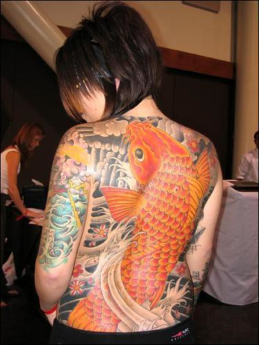 female back tattoo. Japanese style tattoo