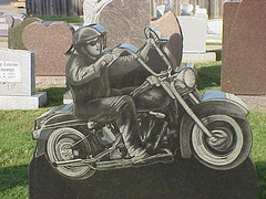 Black Denim Trousers and Motorcycle Boots (sunnybrook100) Tags: tombstone vanburen motorcycle biker arkansas tombstones crawfordcounty ockermonuments