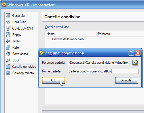 Fig. 7 - VirtualBox cartelle condivise - Nome cartella condivisa in VirtualBox