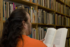 Musty old Book Store (Paul McRae (Delta Niner)) Tags: book kaboom bookstore ear usedbooks newhairstyle confederacyofdunces paulmcrae nobraids imgoingbald nexttoantidote holdingrandombook boughtnocountryforoldman togiveasagift