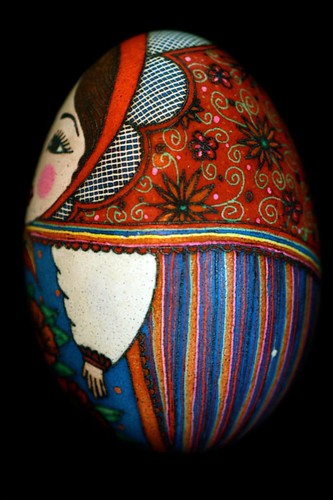 Russian Nesting Dolls Pysanky in red and blue