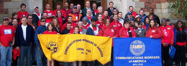 CWAers in New York get prepared to knock doors with Rep John Hall