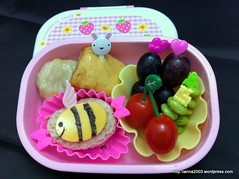 bento 145b (karen hoh) Tags: cheese bread tomatoes bee grapes bento edamame chickennugget sadwich charaben cheesefishcake