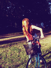 (ana c esparza) Tags: park wood blue light red bike mexico afternoon guitar guadalajara redhair bycicle threes