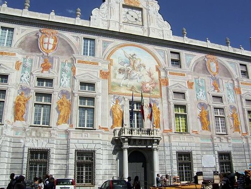 beautiful paintings on the facade of Palazzo San Giorgio in Genoa