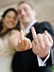 Giving the (ring) finger (Ryan Brenizer) Tags: nyc newyorkcity wedding smile brooklyn fun groom bride nikon funny bokeh finger may noflash rings 1755mmf28g d200 formals 2007 marisaandadam