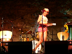Uni and her Uke 2 (Campbell Mitchell) Tags: musician music records glitter club fence edinburgh sassy makeup caves american indie uke uni sass ukelele
