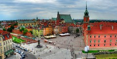 Panaramic view over the Old City in Warsaw (stare miasto)